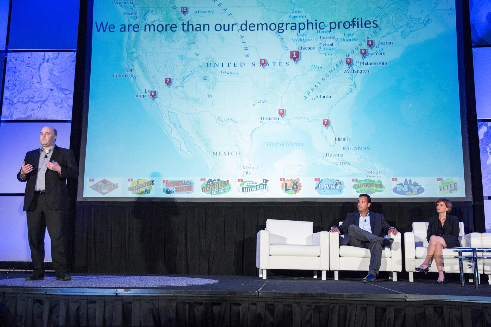 Matt Carmichael speaking at the annual Esri User Conference